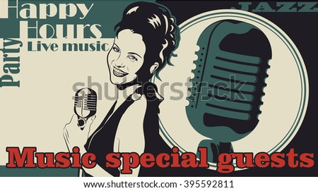 Retro flyer with woman singer