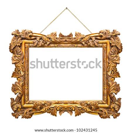 Retro frame at string isolated on white background - stock photo