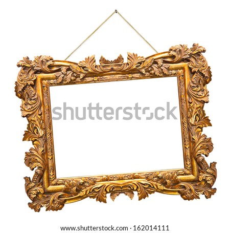 Retro frame at string isolated on white background - stock photo