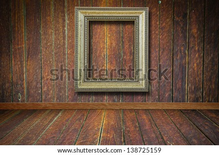 Retro frame over grunge wallpaper with vignette - stock photo