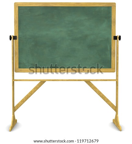 Retro, free-standing, swiveling chalkboard isolated on white with a clipping path - stock photo