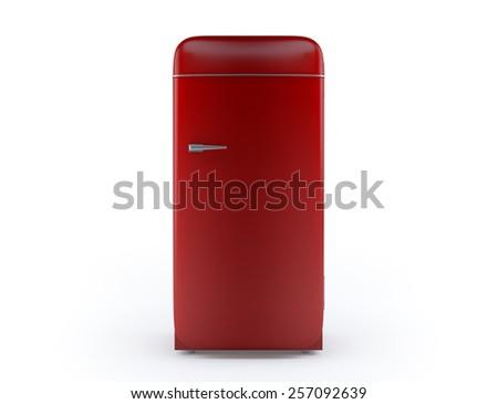 Retro fridge 3d render isolated on white background.  - stock photo