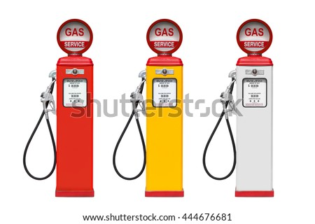 Retro gas pump isolated on white background - stock photo