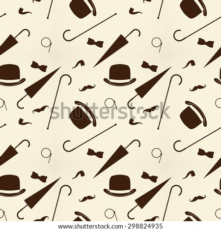 Retro gentleman elements - bowler, mustache, tobacco pipe monocle, cane and umbrella pattern. raster - stock photo
