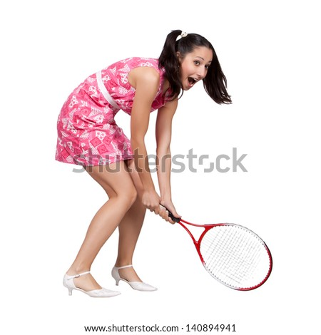 Retro girl in a pink dress, playing with tennis racket isolated on white background - stock photo