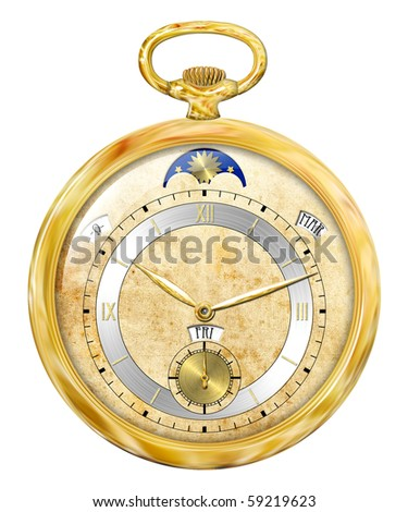 Retro gold clock isolated on white