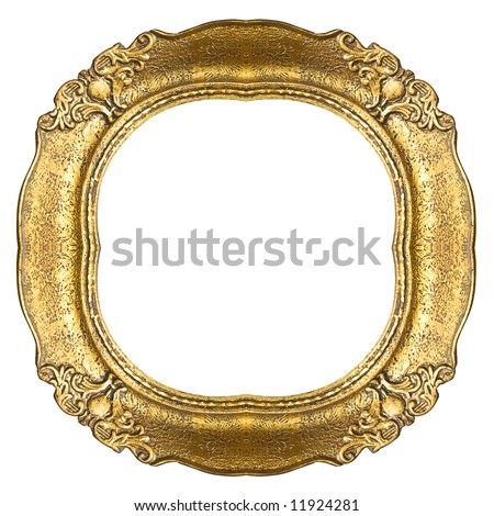 Retro gold frame - Oval - stock photo