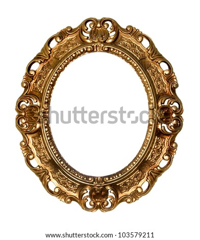 Retro gold frame - Oval , on white background - stock photo