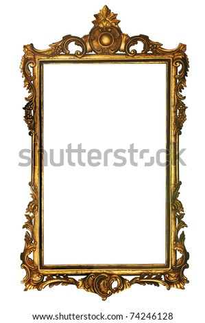 Retro gold frame with path - stock photo