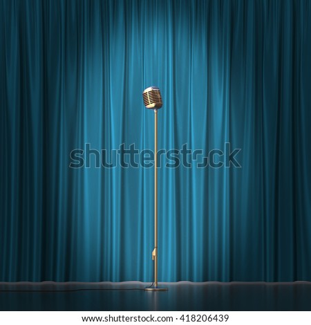 Retro gold microphone on blue cloth background. 3d illustration - stock photo
