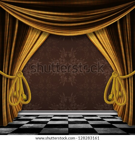 Retro golden curtains opened and grunge checkered floor.