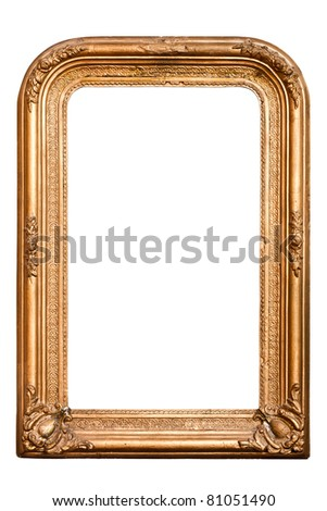 retro golden old frame, baroque style, vertical,  isolated on white  (clipping paths included) - stock photo