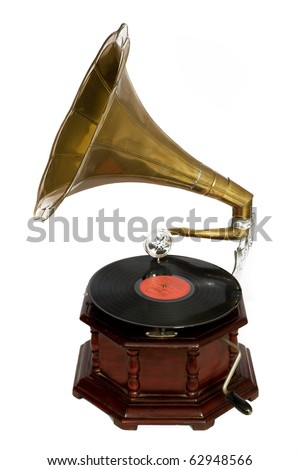 retro gramophone - stock photo