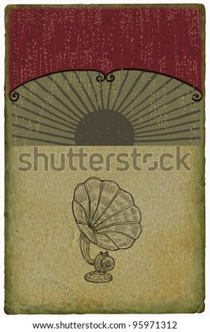 Retro gramophone  illustration - stock photo