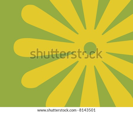 Retro green and gold flower background