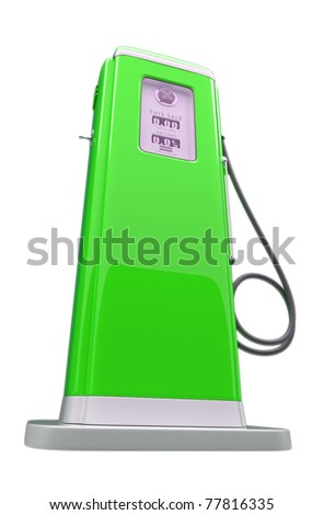 Retro green gasoline pump isolated over white background - stock photo