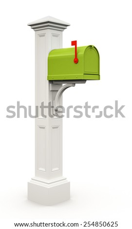 Retro green mailbox isolated on white background 3D - stock photo