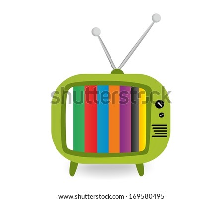 Retro green TV - stock photo