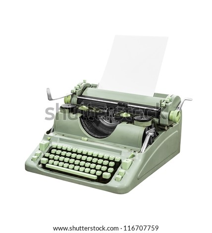 Retro green typewriter isolated with clipping path. - stock photo