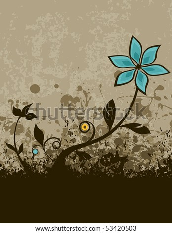 retro grunge illustration of a flower growing from the ground