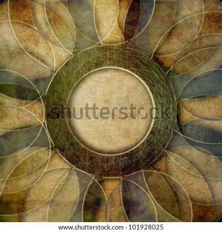 Retro grunge  paper background, abstract circles pattern - stock photo