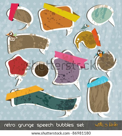 Retro grunge speech bubbles collection with shadows and 3 little birds! Vintage comic style with liquid drop for a unique distressed style - stock photo