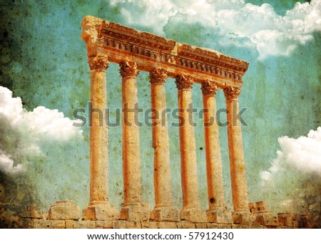 Retro grungy style photo. Jupiter's temple ancient Roman columns, Baalbek, Lebanon