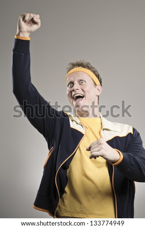 Retro Gym Coach Cheering On His Team - stock photo