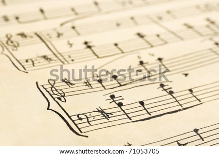 Retro handwritten music sheet - abstract art background - stock photo