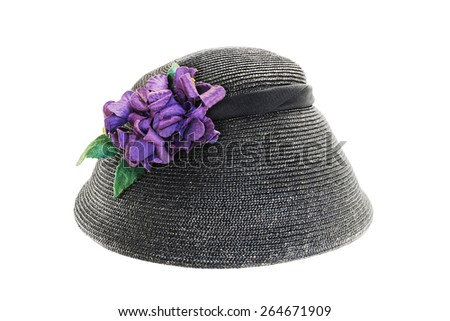 Retro hat with artificial flowers isolated on white background - stock photo