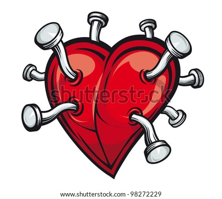 Retro heart with bent nails for tattoo or mascot design. Vector version also available in gallery - stock photo