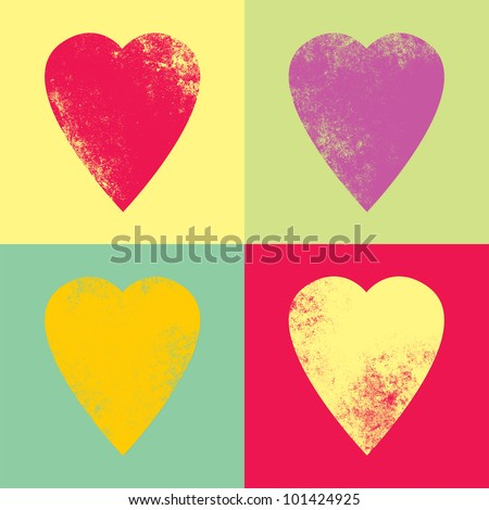 Retro hearts in the style pop-art - stock photo