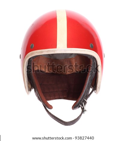 Retro helmet on a white background. - stock photo
