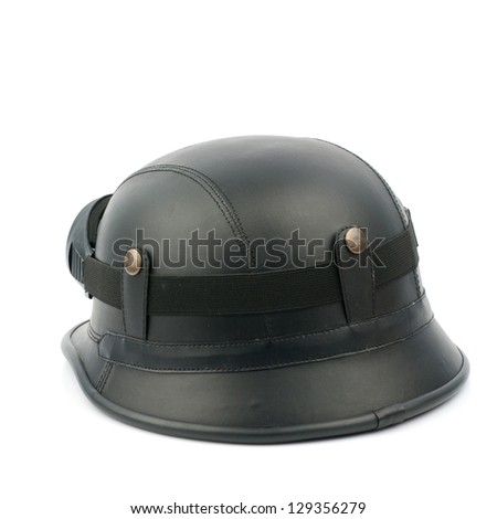 Retro helmet with goggles on a white background - stock photo