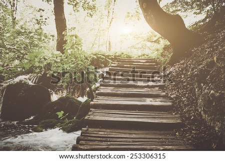 Retro Hiking Path with Sunlight with Instagram Style Vintage Filter - stock photo