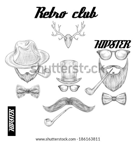Retro hipster club accessories set for gentleman of glasses hat tobacco pipe bow mustache and beard isolated sketch  illustration - stock photo