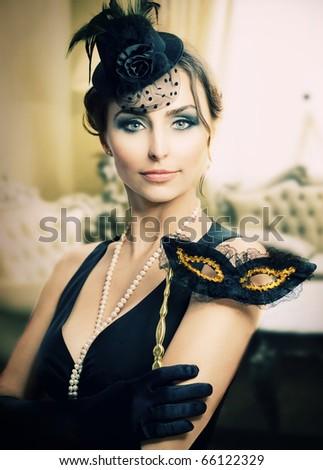 Retro Holidays Celebration.Masquerade.Vintage Styled - stock photo