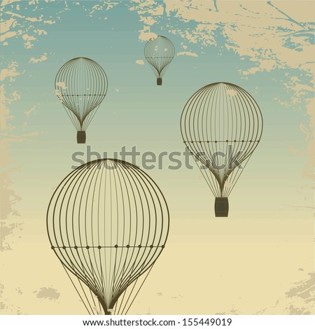 Retro hot air balloon sky background old paper texture. Vintage. Raster version. The original is also available in my gallery - stock photo