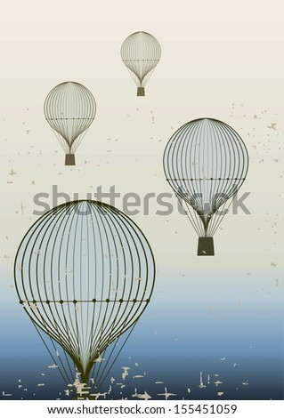 Retro hot air balloon sky background . Vintage poster. Raster version.The original is also available in my gallery - stock photo