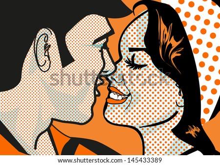 Retro Hot Pop Art KIssing Couple man and woman - stock photo