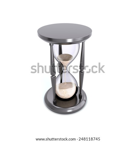 Retro hourglass counting down the time. Hourglass isolated on white. - stock photo