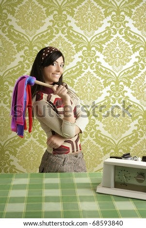 retro housewife woman duster cleaning sixties wallpaper - stock photo