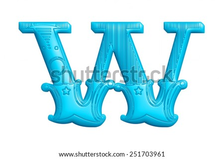 Retro illustration of a complete retro styled blue alphabet in uppercase W on isolated white