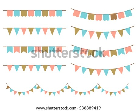 Retro Illustration of Colorful Garlands on white background. Pastel pink, gold and mint colors buntings and flags. Holiday set.