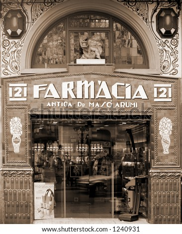 retro image about a traditional pharmacy store in Barcelona