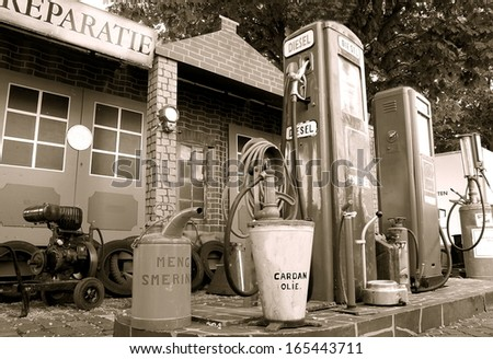 retro image form a fuel tank / pump station - stock photo