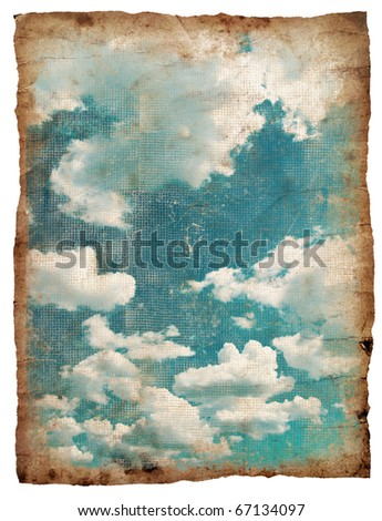retro image of cloudy sky on old paper - stock photo