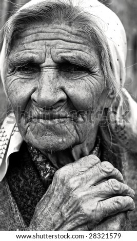 retro image of old country lady - stock photo