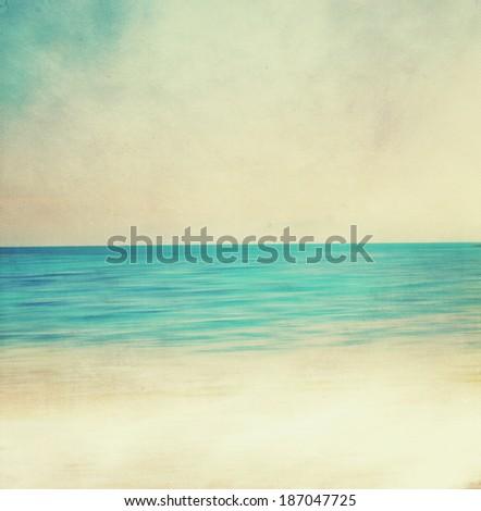 Retro image of sandy beach. - stock photo