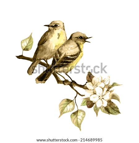 Retro image - two birds on spring branch with leaves and flowers. Vintage color  - stock photo